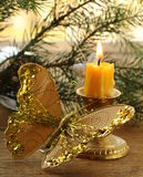 Christmas decoration - fir branches, candles royalty free stock photos