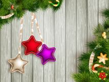 Christmas decoration with fir branches. EPS 10 Royalty Free Stock Image