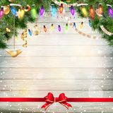 Christmas decoration with fir branches. EPS 10 Stock Photo