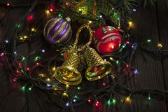 Christmas decoration with fir branches stock images