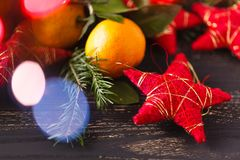 Christmas decoration with fir branches and star Stock Photos