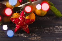 Christmas decoration with fir branches and star Royalty Free Stock Image