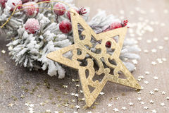 Christmas decoration with fir branches on the wood background. Royalty Free Stock Images