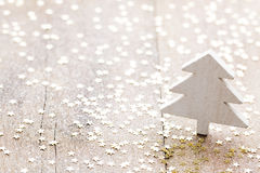 Christmas decoration with fir branches on the wood background. Royalty Free Stock Image