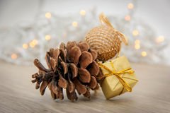 Christmas decoration - fir cone. Royalty Free Stock Photography