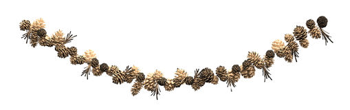 Christmas decoration fir cones on a rope Stock Photo