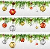 Christmas decoration with fir, garland isolated on white Royalty Free Stock Images