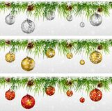 Christmas decoration with fir, garland isolated on white Royalty Free Stock Photography
