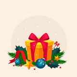 Christmas Decoration with Fir and Gift. Vector Stock Image