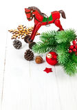 Christmas decoration with fir and pinecone Royalty Free Stock Photo