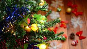 Christmas decoration on fir tree. Christmas decoration on a fir tree stock video