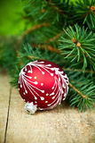 Christmas decoration and fir tree Royalty Free Stock Photo