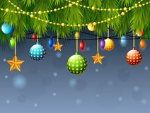Christmas decoration with fir tree branch, color balls, golden star, with light bulbs. Illustration of Christmas decoration with fir tree branch, color balls Stock Photography