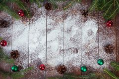 Christmas decoration on textured wood background royalty free stock photos