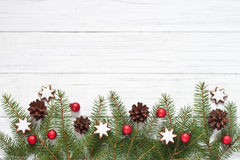 Christmas decoration. With fir tree and Christmas cookies Royalty Free Stock Photography