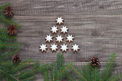 Christmas decoration. With fir tree and Christmas cookies Stock Photography