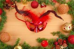 Christmas decoration with fir tree and glamor mask Stock Image