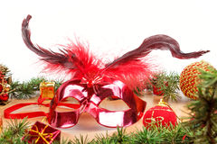 Christmas decoration with fir tree , glamor mask masquerade for Royalty Free Stock Photography
