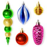 Christmas Decoration for Fir Tree isolated on White Background. Royalty Free Stock Photos
