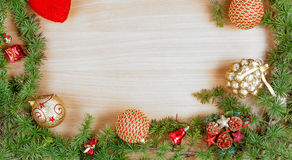 Christmas decoration with fir tree  and ornamentals gifts  Stock Image