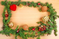 Christmas decoration with fir tree  and ornamentals gifts Stock Photography