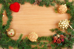 Christmas decoration with fir tree  and ornamentals with stars  Royalty Free Stock Image