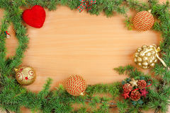 Christmas decoration with fir tree  and ornamentals Royalty Free Stock Photos