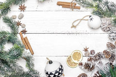 Christmas decoration of fir tree with pine cones and  christmas Stock Photo