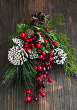 Christmas Decoration with Fir Tree and Red Berries Branches and Stock Image