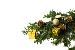 Christmas decoration and fir twig with copy space Stock Photos