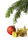 Christmas decoration and fir twig isolated Stock Image