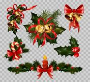 Christmas decoration fir wreath bow elements vector isolated on transparent background. Christmas decorations set on transparent background. Vector isolated Royalty Free Stock Images