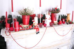 Christmas decoration of fireplace Royalty Free Stock Photo
