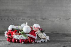 Free Christmas Decoration: First Advent With One Burning Candle. Stock Image - 43844961