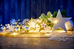 Christmas decoration for firtree glass balls garland Royalty Free Stock Image