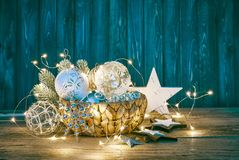 Christmas decoration for firtree glass balls garland Stock Image