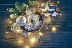 Christmas decoration for firtree glass balls garland Royalty Free Stock Photography