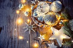 Christmas decoration for firtree glass balls garland Stock Photo