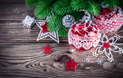 Christmas decoration with firtree and red balls Stock Image