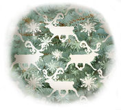 Christmas decoration with  flakes and deers Royalty Free Stock Images