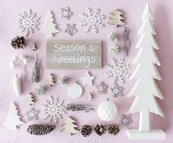 Christmas Decoration, Flat Lay, Text Seasons Greetings Stock Photo