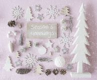 Christmas Decoration, Flat Lay, Text Seasons Greetings, Snowflakes Stock Photo