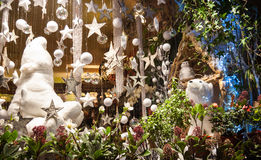Christmas decoration in flower shop. Royalty Free Stock Photos