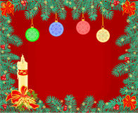 Christmas decoration frame background with candle vector Stock Photo