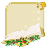 Christmas decoration frame with book vector Royalty Free Stock Images