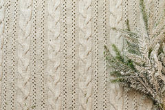 Christmas decoration frame with knitted wool background and fir. Royalty Free Stock Photography