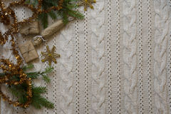 Christmas decoration frame with knitted wool background.  Top vi Stock Photo