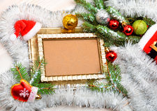 Christmas decoration with frame, pine twigs, christmas baubles, Stock Photo