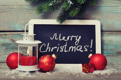 Christmas  decoration and framed blackboard Stock Images