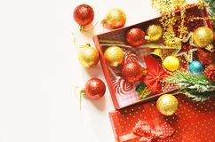 Christmas decoration. Free space for text. Christmas background royalty free stock photography